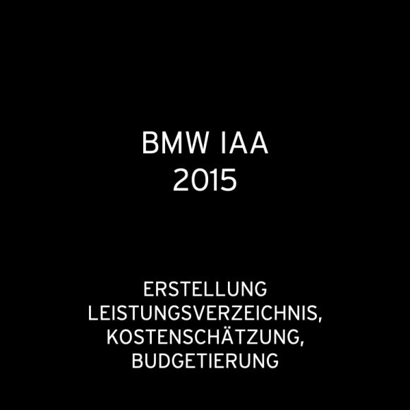 BMW IAA Frankfurt 2015: Kostenschätzung, Erstellung LV, Budgetierung (für BlueScope)